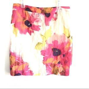 LOFT Watercolor Floral Print A-Line Skirt